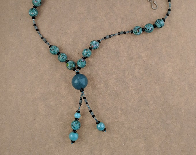 Mother of Porcelain Long Teal Handmade Necklace