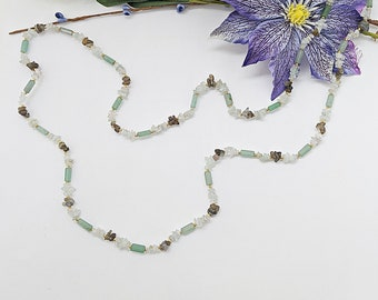 Long Gemstone Necklace Endless Handmade Beaded Strand