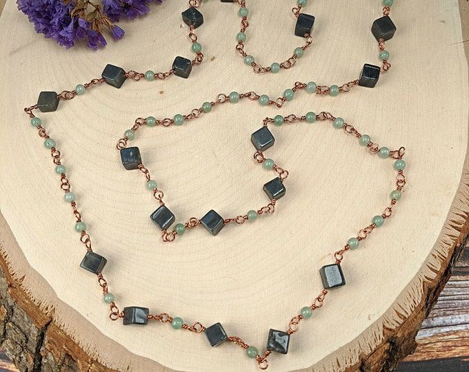 Chalcedony and Copper Chain Necklace