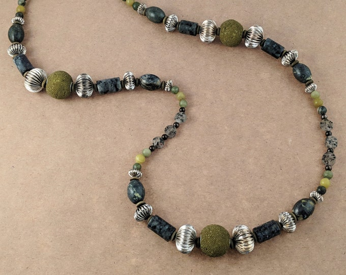 Silver and Green Claspless Handmade Beaded Necklace