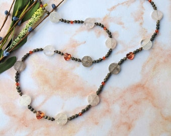 Long Quartz Coin Necklace