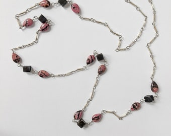Rhodonite and Jasper Handmade Chain Necklace