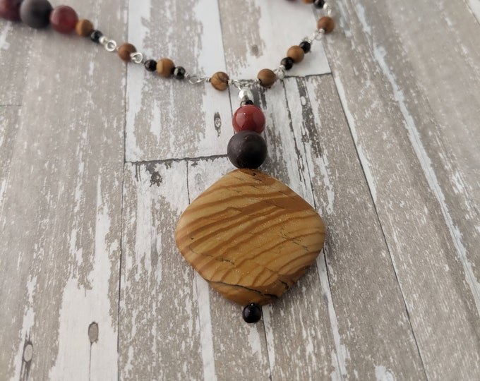 Handmade Jasper Gemstone Chain Necklace