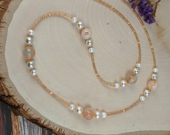 Stones Pearls and Seeds Necklace