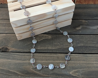Pearly Agate Chain Necklace