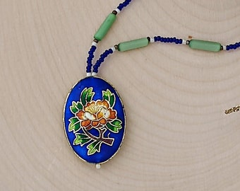 Blue and Green Cloisonné Flower Necklace
