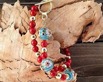 Cloisonné and Riverstone Wrap Bracelet Stack