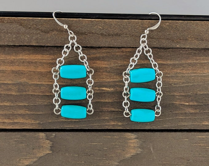 Turquoise Ladder Earrings Swinging Silver and Gemstone Handmade One of a Kind Earrings