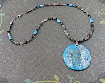 Turquoise Shell and Stone Necklace