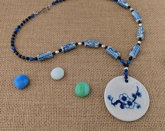 Painted Porcelain Necklace