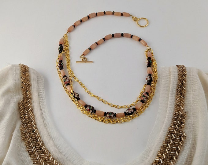 Gold Blush Cloisonné Necklace with Agate Chips Gold Chains Handmade Gifts for Her