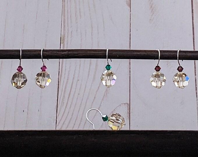 Simple Handmade Swarovski Drop Earrings in either Pink Burgundy or Green