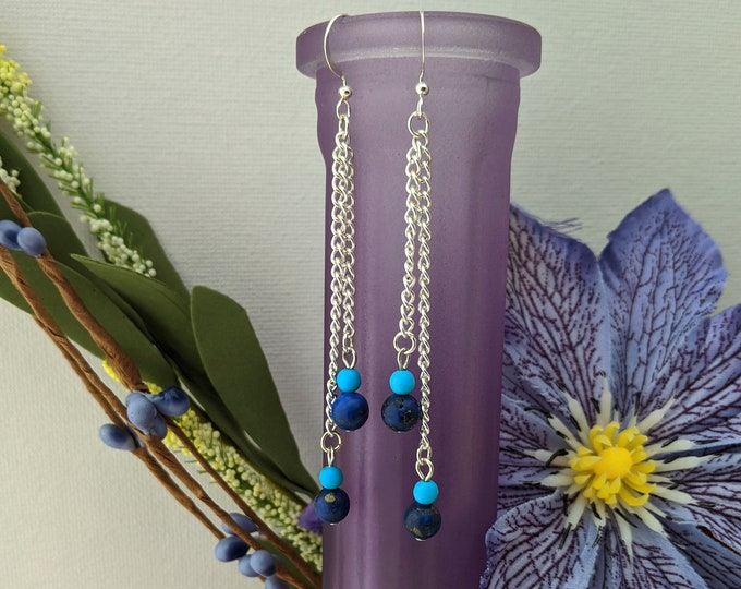 Long Blue Drop Earrings with Lapis Lazuli on Silver Chain