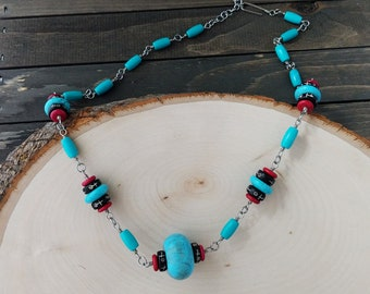 Turquoise Donut Chain Necklace