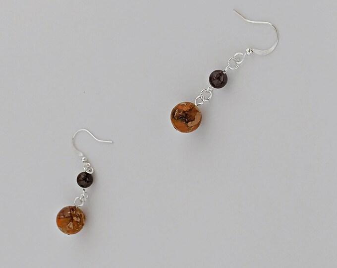 Jasper and Garnet Earrings Gemstone Drop Earrings