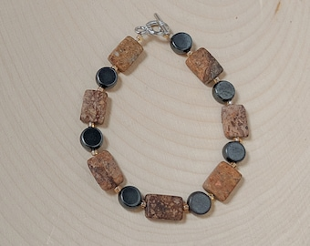 Hematite and Feldspar Bracelet