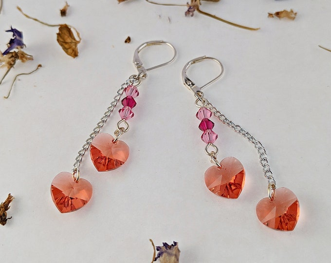 Cupid's Earrings featuring Swarovski Hearts and Crystals