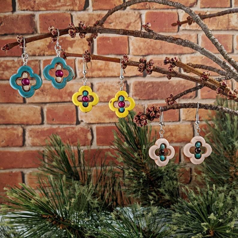 Colorful Flower Earrings image 0