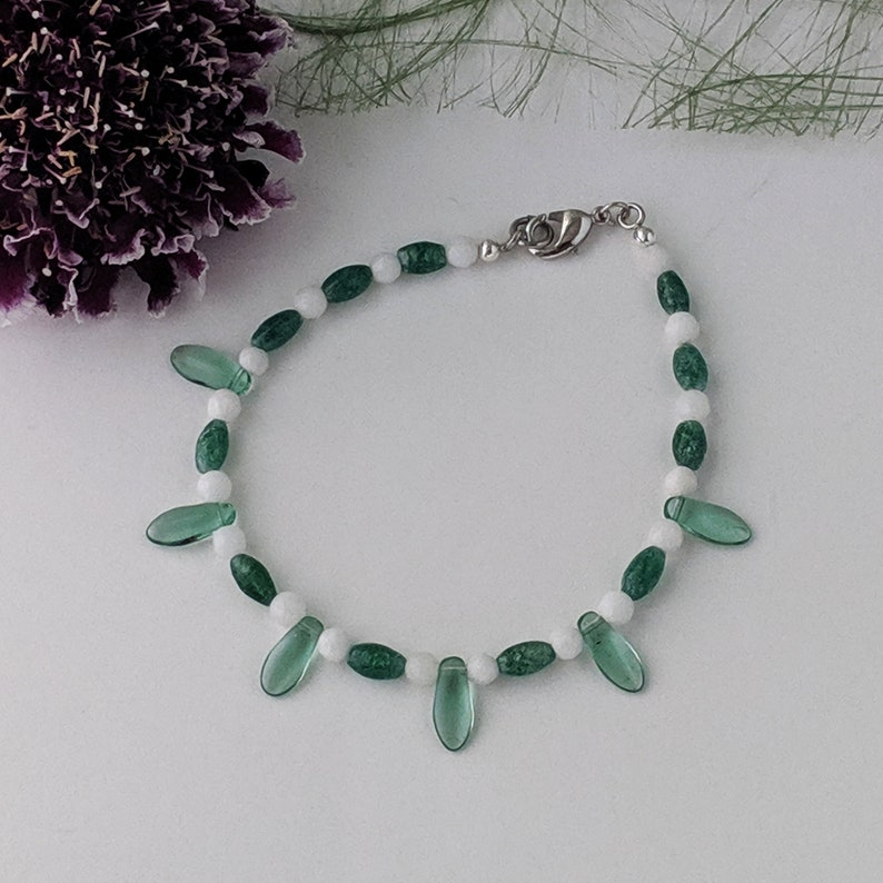 Green and White Spikey Bracelet image 0