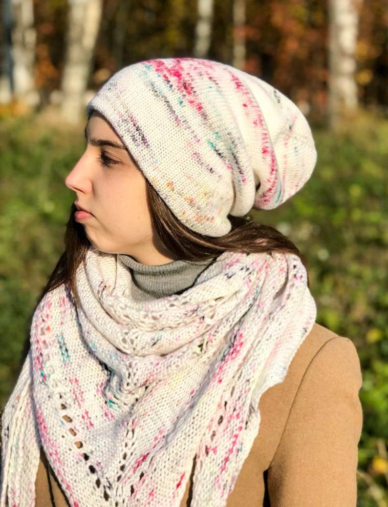 751656d22fd Winter knitted soft merino wool set beanie and triangular