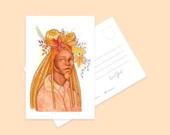 Autumn King Mini Art Print   Cool Femme Character Illustration Postcard   Illustrated Pretty Kawaii Art Print   Illustrated Print