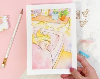 Rest Illustrated Art Print   Sleeping Illustration   Sleeping Girl Watercolor Painting   Calm vibes   Self-care   Spoonie Art