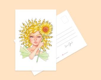 Sunflower Girl Mini Art Print   Pretty Kawaii Character Illustration Postcard   Illustrated Art Print   Illustrated Print  