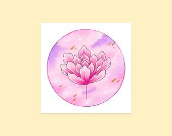Magnolia Flower Art Print   Handmade Watercolour Illustration   Cute & Mystical   Floral Botanical Painting   Kawaii Flower