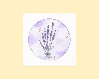 Lavender Art Print   Handmade Watercolour Illustration   Botanical Floral Wall Art   Calming Botanical Painting   Kawaii Flower