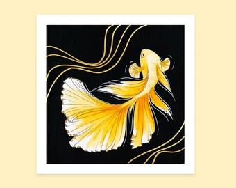 Gold Fish Illustrated Print   Watercolor Painting   Siamese Fighting Cute Illustration   Orange Aesthetic   Kawaii animals