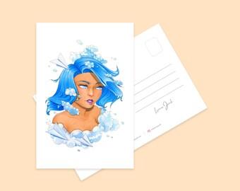 Sky Blue Mini Art Print   Cute Blue Hair Girl Character Illustration Postcard   Illustrated Pretty Kawaii Art Print   Illustrated Print