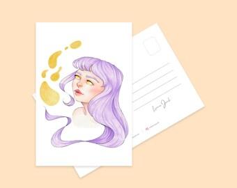 Lavender Mini Art Print   Cute Purple Hair Girl Character Illustration Postcard   Illustrated Pretty Kawaii Art Print   Illustrated Print