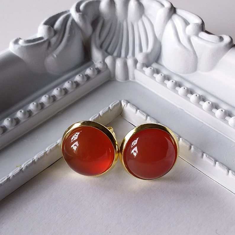 gemstone, Stainless Steel Earrings gold Agate stud earrings stainless steel plated brown cabochon earrings healing stone
