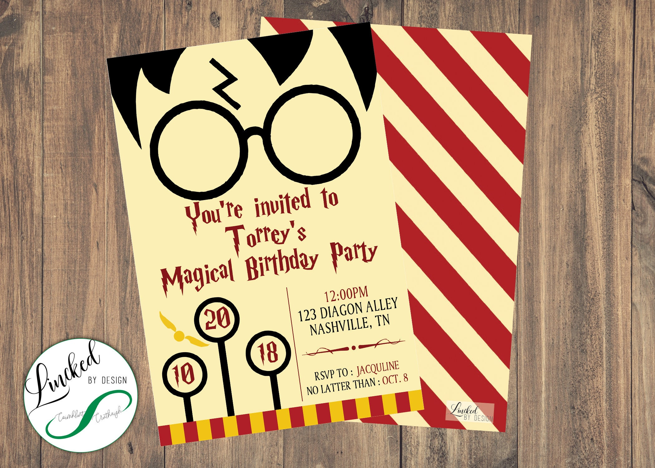 Harry Potter Themed Birthday Invitation Digital Download