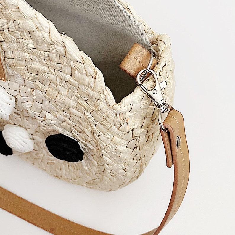Round Rattan Straw Handbag Tote Purse Boho Style Black White Natural Handmade for Her Summer Spring Wedding Party Vacation Beach Market