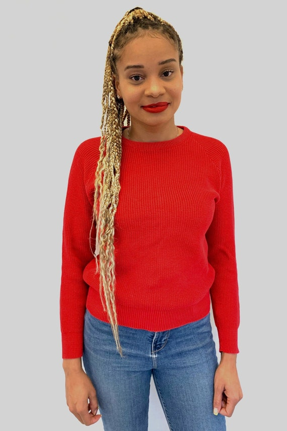 Vintage 80s LL BEAN Red Crew Neck Sweater / New E… - image 2