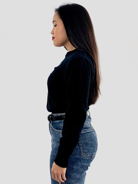 Vintage 80s Black UNICORN Sweater / Small S - image 4