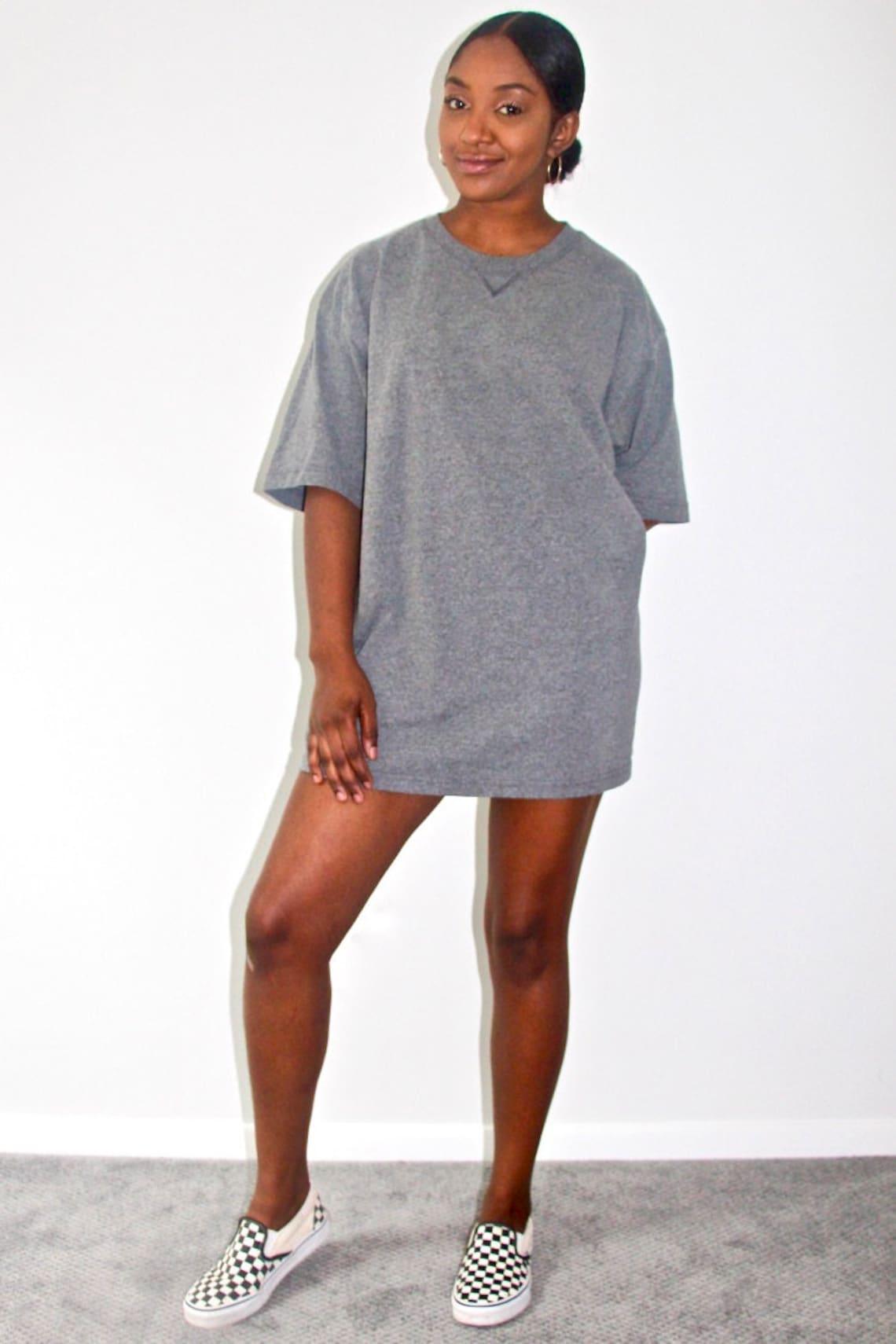 Vintage 90s Womens Boyfriend T Shirt Dress Heather Grey Etsy