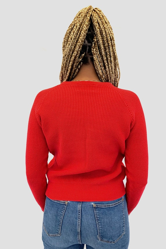 Vintage 80s LL BEAN Red Crew Neck Sweater / New E… - image 4