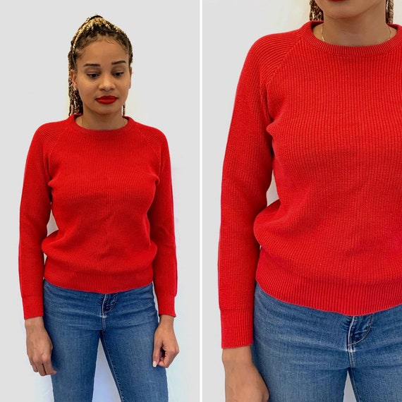 Vintage 80s LL BEAN Red Crew Neck Sweater / New E… - image 1
