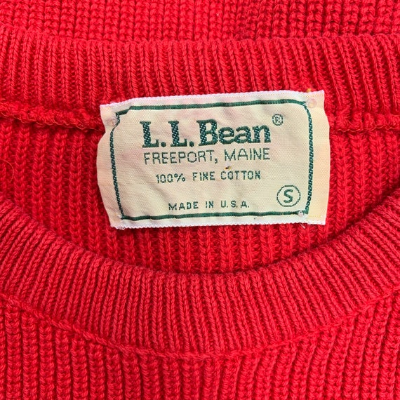 Vintage 80s LL BEAN Red Crew Neck Sweater / New E… - image 3