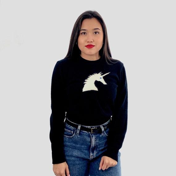 Vintage 80s Black UNICORN Sweater / Small S - image 2