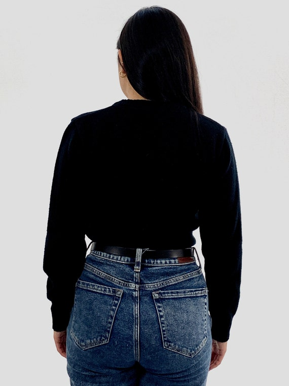 Vintage 80s Black UNICORN Sweater / Small S - image 5