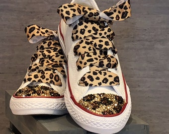 Leopard print bling converse  2fbc3ab29