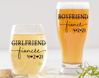 Engagement Gift for the Couple, Girlfriend Fiancee, Boyfriend Fiance Engagement Gifts, Just Engaged Gifts, Engagement Glasses
