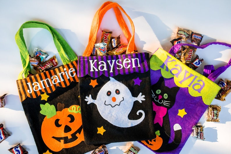 Halloween Trick Or Treat Bags Personalized.Halloween Trick Or Treat Bag Personalized Halloween Buckets Monogrammed Trick Or Treat Bag Halloween Bag Candy Bag Kids Trick Or Treat