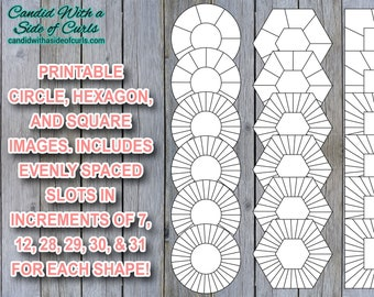 Circle, Hexagon, Square With 7, 12, 28, 29, 30, & 31 Spaces Bullet Journal Printable JPEG Images