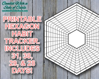 Hexagon Habit Tracker Bullet Journal Printable JPEG Images