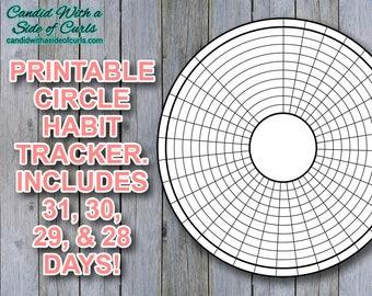 Circle Habit Tracker Bullet Journal Printable JPEG Images