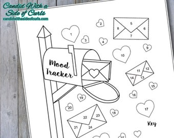 Mail With Hearts Monthly Mood Tracker Bullet Journal-Printable Pages